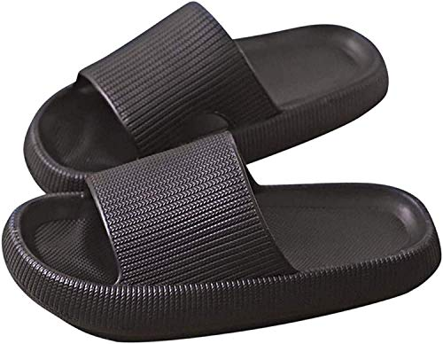 Pillow Slides, Super Soft Home Slippers Non-Slip, Unisex Non-Slip Thick Sole, Open Toe, Quick Dry Shower Slippers, Beach Thick Soled Shoes for Women and Men (Black, Women6.0-7.5/Men6.0-6.5)