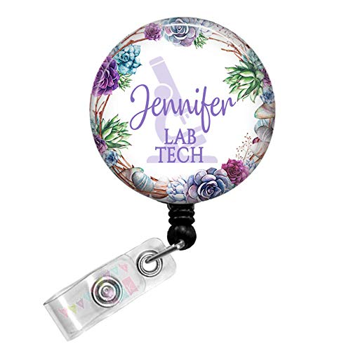 Lab Tech - Microscope - Grapevine Succulents - PERSONALIZED - Button Badge Reel - BR0136