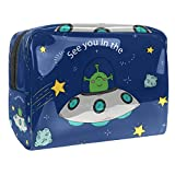 Makeup Bag Star UFO Alien Cosmetic Case Zipper Pouch Water-resistant Travel Cosmetic Organizer for Women and Girls 7.3x3x5.1in