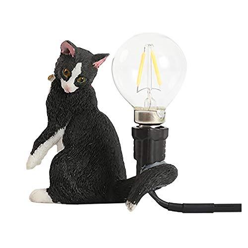 Todidaf creativa resina Qiqi gato Animal Noche Decoración Decoración Regalo Kitty Materna Luz Transpiración LED Noche
