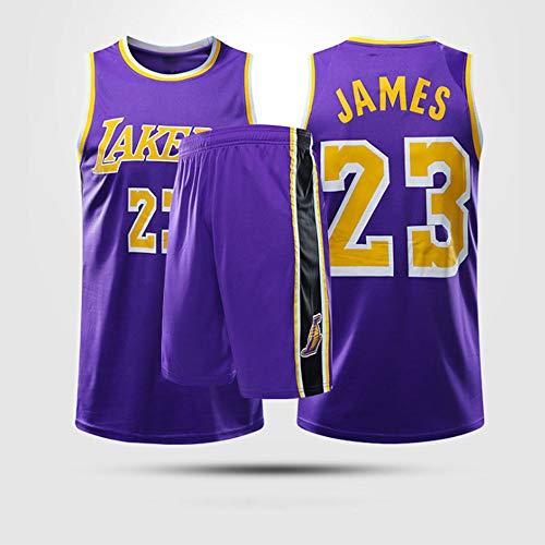 Jerseys De Baloncesto para Hombres, NBA Los Angeles Lakers # 23 Lebron James - Niño Adulto Fresco Uniformes De Chaleco Transpirable Classic Comfort Camiseta Sin Mangastops Set,XL(Child) 145~155CM