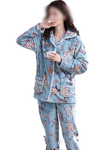 Hopereo Pijama de franela para mujer, conjunto de pijama de...
