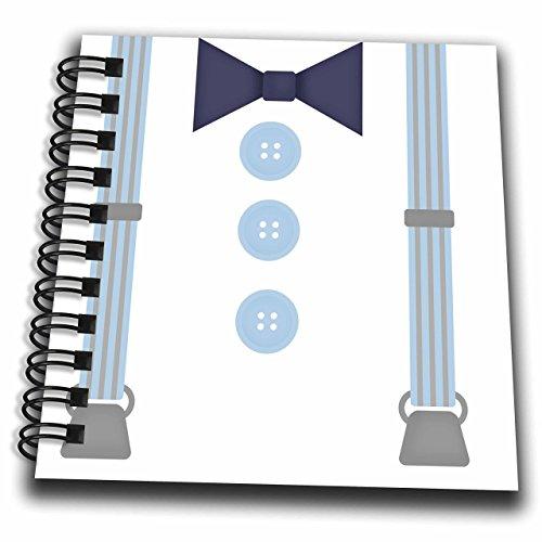 Mini-Notizblock, 3D-Rose, Hipster-Hosenträger und Fliege, Blau
