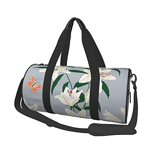 MBNGDDS - Borsone da viaggio con fiori di giglio, leggero, pieghevole, impermeabile, con tracolla, borsa sportiva da palestra per uomini e donne, Come mostrato, Taglia unica,
