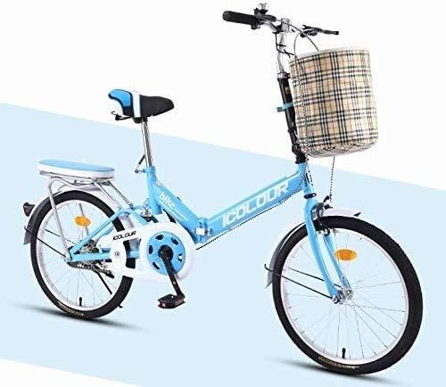 AXWT Bicycle 16/20 Pouces vélo Pliable vélo en Forme de V Frein en Acier au Carbone Haut Cadre en Alliage d'aluminium Couteau Anneau élastique Haute Shock Absorber (Taille : 20 inches)