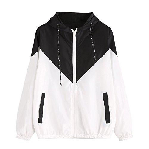 Yowablo Jacke Damen Hoodies Langarm Patchwork Dünne Skinsuits mit Kapuze Reißverschluss Taschen Sport Mantel Mode Lässig Top Sweatjacke Outwear (XXL,1- Schwarz)