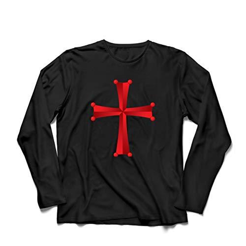 lepni.me Camiseta de Manga Larga para Hombre Orden del Templo de Salomón - La Cruz Roja de los Caballeros Templarios (Large Negro Multicolor)