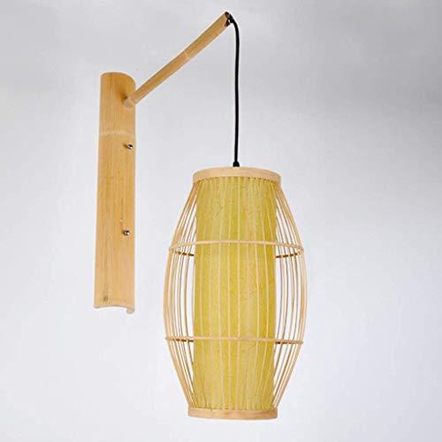 Giow Lámpara de Pared Moderna de Mimbre de bambú Pantalla en un Acabado de Mimbre Natural Bar Bar 25 * 50 cm