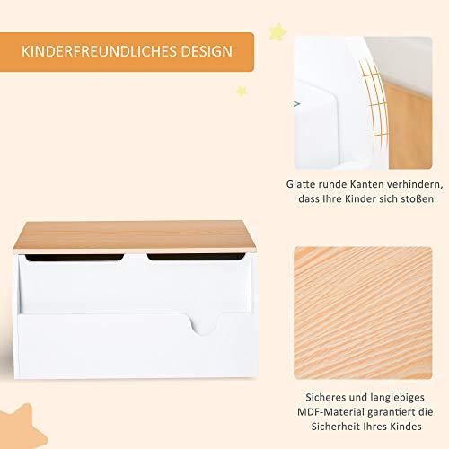 HOMCOM Kindersitzbank mit Stauraum 2-in-1 Truhenbank Spielzeugkiste Aufbewahrungstruhe 3-8 Jahre Kindermöbel Weiß 58 x 43 x 30 cm - 3