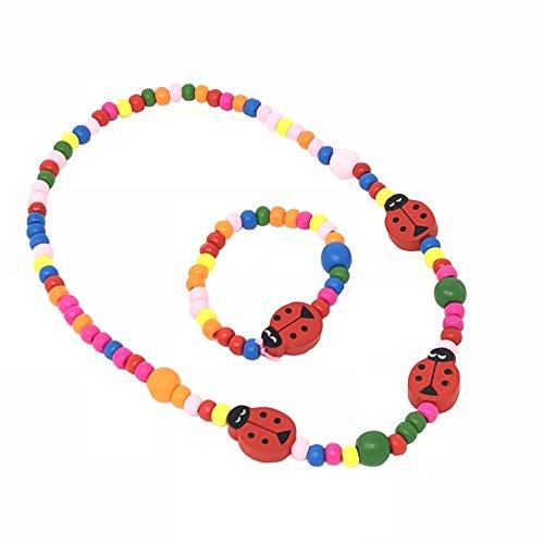 Pour Enfant Coccinelle Ensemble collier et bracelet en perles-Sac surprises, Botte, cadeaux pour les petites filles