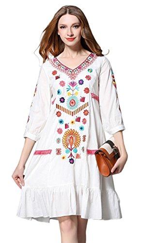 shineflow Damen Frauen Vintage Sommerkleider Kleid Mexikanischen Ethnischen Bestickt Minikleid Blume Stickerei Kleid(Wei?,L)