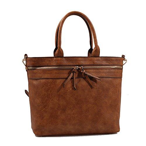 Isabelle Women's Faux Leather Tote Handbag Shoulder bag - Brown