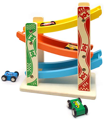 MrSure Ramp Race Track Toys with 4 Wooden Mini Cars for Kids and Toddlers, Wooden Car Game Early Educational Gift for Boys and Girls