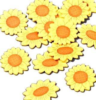 Holzstreuteile Sonnenblumen Gr: ca. 3 cm, 14 Stk [Spielzeug]