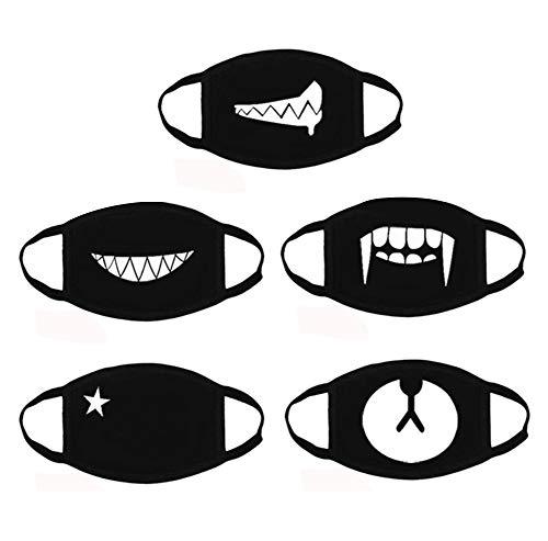 AOBETAK Baumwolle Gesichtmaske, 5 stück Mode süß Anti Staub Wind Mundschutz, Mund Masken, Anti-Beschlag Maske, Unisex Mundmaske Für Kinder Erwachsene Schwarz