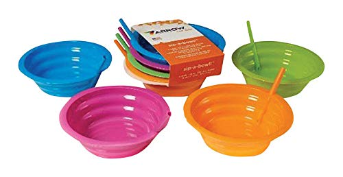 Arrow Plastic 6746051 Sip-A-Bowl 22 oz Assorted Plastic Round Bowl with Straw44; Pack of 4