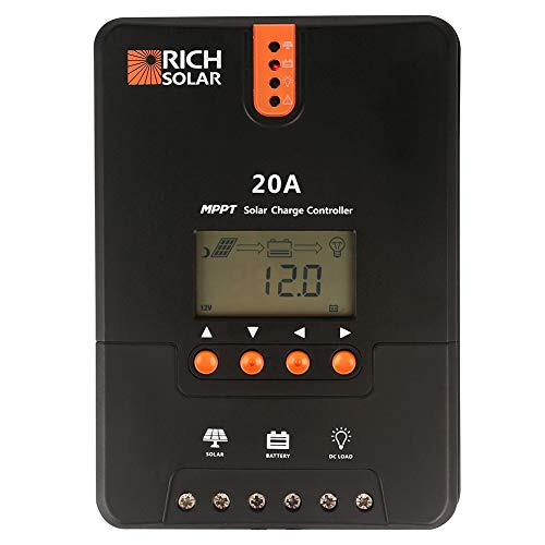 RICH SOLAR 20 Amp 12V/24V DC Input MPPT Solar Charge Controller with LCD Display...