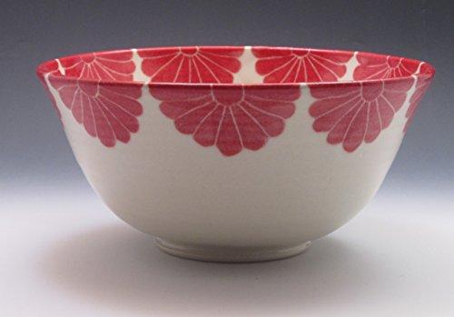 Porcelain Serving Bowl, Hand Painted in Red Flower Design