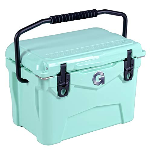 G Kühlbox Eisbox Kuhlbox Eisbehälter Wasserdicht Kühler Campingbox Kühlschrank Eistruhe Cooler 19L Isolierte Gefrierbox Eiskühler 20QT für Camping Angeln Urlaub Freizeit und Beruf(Seafoam Grün)