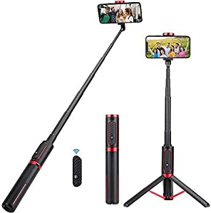 Selfie Stick Tripod, KKUYI Extendable Bluetooth Selfie Stick with Wireless Remote, All in One Mobile Phone Tripod Stand for iPhone 11 Pro/XS MAX/XR/X/8/7/6s/6, Samsung Galaxy S10/S9/S8, Huawei, More