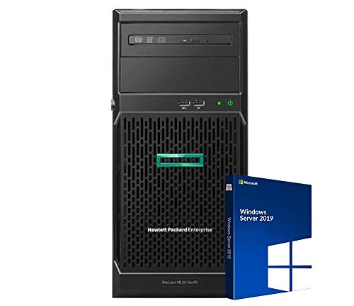 HP ProLiant ML30 Gen10 Tower Server Bundle with Intel Xeon E-2124 Quad-Core 3.3GHz, 32GB DDR4, 4TB SSD, RAID, Windows Server 2019 Standard (Renewed)
