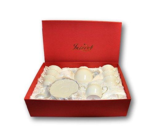 INTEROS Porzellan Teeservice für 6 Person 14 TLG Die Winterrose