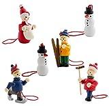 BRUBAKER - Suspensions pour Sapin de Noël - 6 Pièces - Bonhommes de neige - Figurines en Bois peintes à la main - Décoration de Noël traditionnelle
