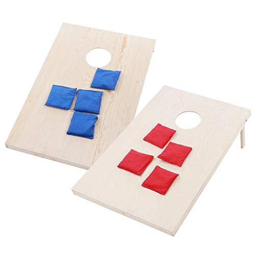 SALUTUYA Cornhole Bean Bag Toss Game Bean Bag Toss Juegos de Mesa 4 Rojos + 4 Frijoles Azules con Bolsa, para Exteriores