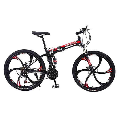 Folding Mountain Bike 24/26 Inch Cross-Country Bike High Carbon Steel Frame 24/27/30 Variable Speed Dual Disc Brake Full Suspension Mountain Bike