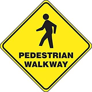 Shape Floor Pedestrian Walkway Safety Sign, Funny Warning Stickers,Self Adhesive Vinyl,Safety Sign Label Decal, 17 Height X 17 Width, Black On Yellow
