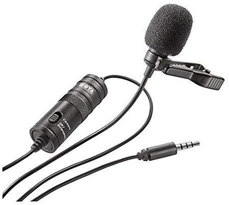 Boya BY-M1 Omni Directional Lavalier Condenser Microphone – (3rd Generation Upgraded with Extra Features) For Canon Nikon Sony iPhone 6 Plus Dslr Camcorder Audio Recorder (BLACK, 6m)