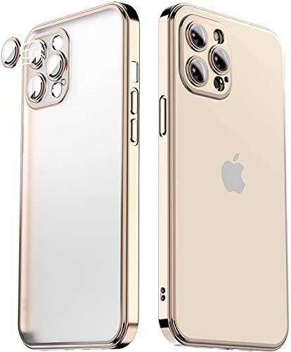 Kompatibel mit iPhone 12 Pro Max Hülle Gold(6,7 Zoll),Mit Kameraschutz [unterstützt kabelloses Laden] Galvanikrahmen Matt Clear Dünn Slim Fit Silikon Stoßfest Schutzhülle für Frauen/Herren