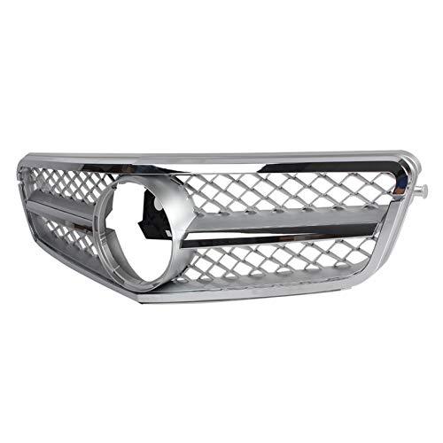 OutdoorKing Parrillas para Mercedes-Benz Clase C W204 C180 C200 C260 C63 2007 2008 2009 2010 2011 2012 2013 2014 Rejilla Delantera De Coche Plateada con Emblema