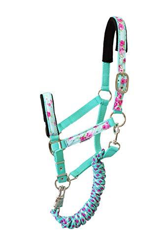 EJP Halfter mit Strick in modernen Mustern. in Grösse Pony In 6 Farben erhältlich. (Mint)