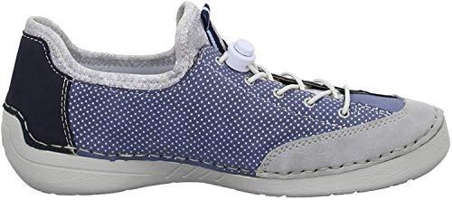 Rieker 52563 Damen Halbschuhe Cement-Jeans-Fog Silver-Pacific-Silver Flower, EU 39