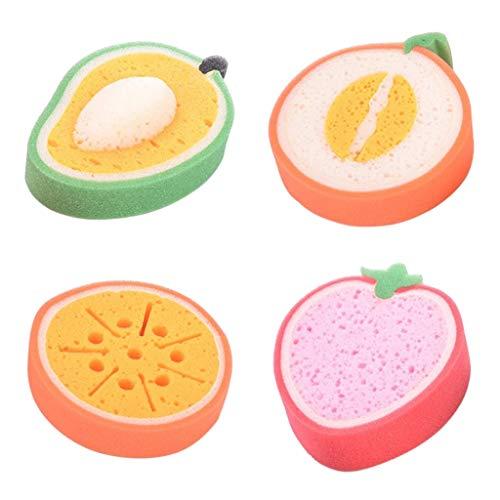 Baoblaze 4 Unids/Set Dibujos Animados Fruta Niños Baño Limpieza Esponja Lavado Almohadilla