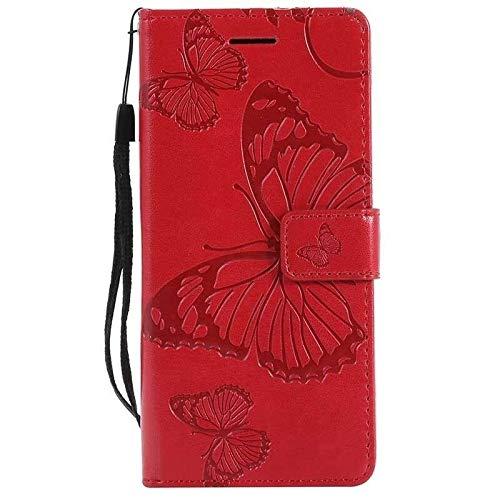 RZL Teléfono móvil Fundas para Nokia 7.2 6.2 4.2 3.2, Mariposa tirón del Cuero de la Carpeta del Caso para Nokia 2.1 3.1 5.1 1 7.1 8.1 Plus X7 X71 (Color : Red, Material : For Nokia 1 Plus)