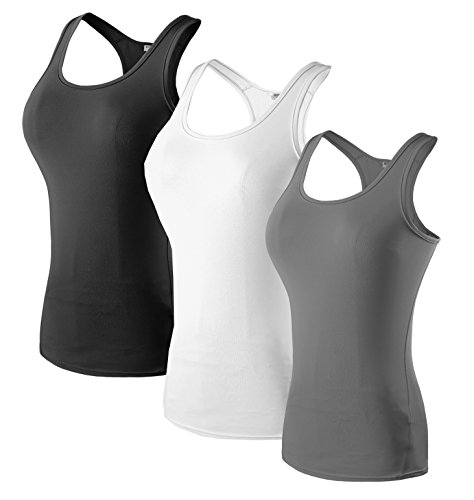 Sport Yoga Tanktops Damen Workout 3 Packs Dry Fit Kompression Running Fitness T-Shirt Schwarz Weiß Grau Tag(M)=EUR S