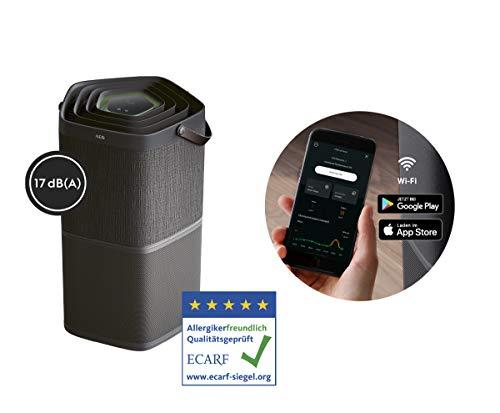 AEG AX91-404DG Luftreiniger (Beseitigt 99,9% luftgetragener Bakterien, nur 17 dB(A), Automatik-Modus, Luftqualitätsanzeige, leistungsstarke Filter, App-Steuerung, bis 92 m² Raumgröße, dunkelgrau)