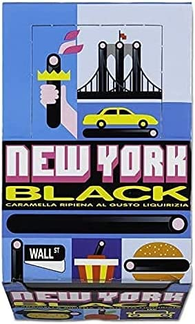 74 opinioni per New York Black, Caramella Gommosa Gusto Liquirizia Ripiena, box da 150