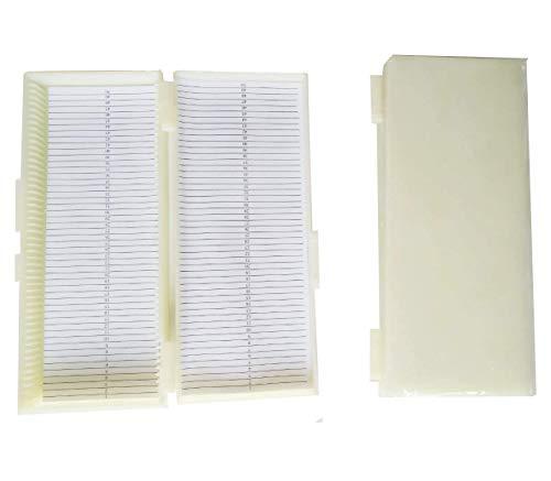 Caja con capacidad para 50 portaobjetos de cristal, blanco, 1