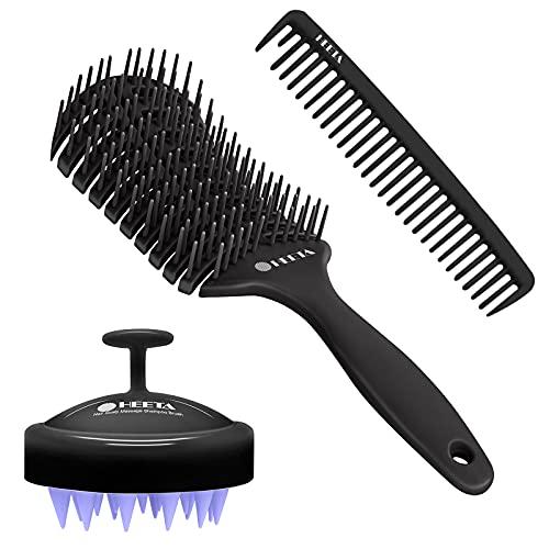 HEETA 3Pcs Vent Styling Brush, Hair Shampoo Brush for Dry & Wet Hair, Detangling Hair Comb Set, Silicone Scalp Massager, Blow Dryer Brush for Women Men Kids Wavy Curly Thick Long Short Hair (Black)