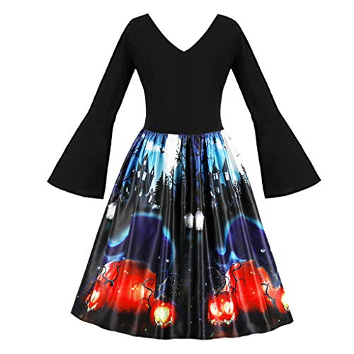 LILIHOT Frauen Halloween Party Kleider Vintage ärmellose Swing Dress Kürbisse Abend Prom Kostüm...