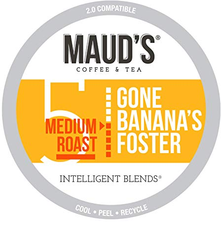 Maud's Banana Foster Coffee (Gone Banana's Foster), 50ct. Recyclable Single Serve Banana Foster Coffee Pods – 100% Arabica Coffee California Roasted, Banana Foster K Cups Compatible Including 2.0