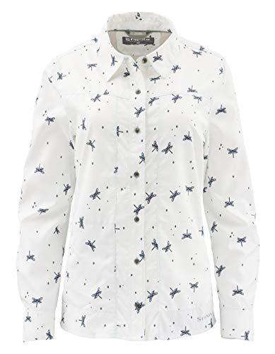 Simms Womens Isle UPF 50+ Fishing Shirt, Vented Back, Dragon Fly White XL