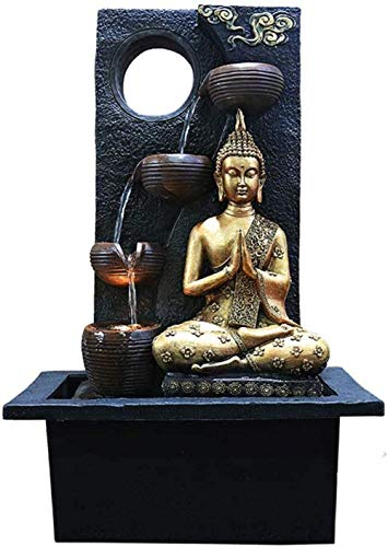 Zen Fontana di Acqua Interna Con Pompa Dell Acqua - Statua del Buddha Gemstone Feng Shui Ornaments Great for Office Living Room Bedroom B-B-A