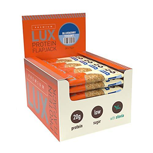 Warrior Supplements 24 Premium LUX Protein Flapjack Bars, Golden Brown, Blueberry Yogurt, 75 g