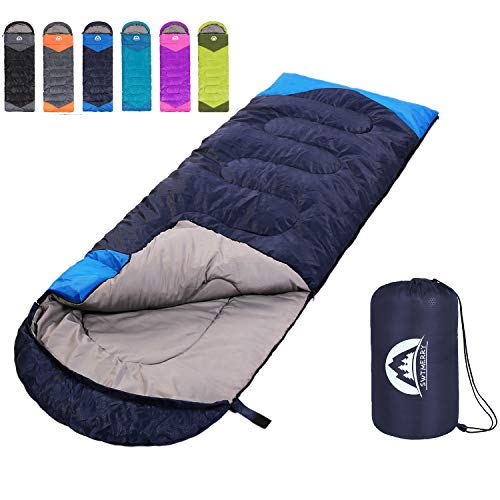 Sleeping Bag 3 Season Warm & Cool Weather - Summer, Spring, Fall, Lightweight,Waterproof Indoor & Outdoor Use for Kids, Teens & Adults for Hiking,Backpacking and Camping (Navy Blue, Single)