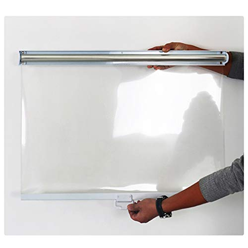 Persianas enrollables Estores A Prueba de Polvo Plástico Transparente por Contadores/Recepciones, con Mango, Impermeable Transparente Barreras por Congeladores (Size : 105×150cm/41×59in)