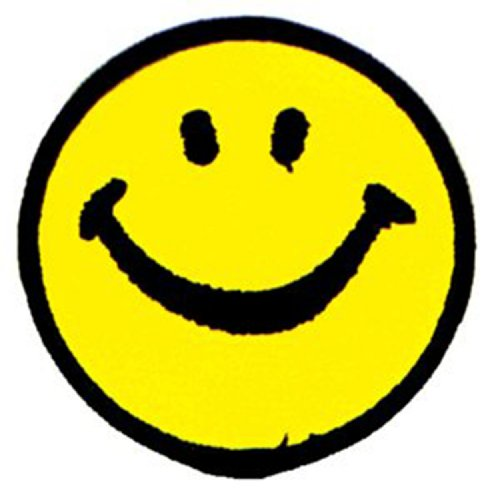 Happy Faces Smile Patch Fleck Iron-On/Sew-On Officially Licensed Pop Culture/Happy Face Artwork, 3